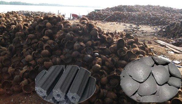 စည်ပိုင်းပုံ အုတ်ဖုတ်မီးဖို (Kiln) ဖြင့် အုန်းခွံမီးသွေး ပြုလုပ်ခြင်း
